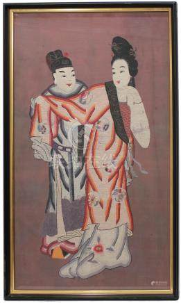 CHINESE EMBROIDERY SILK PANEL, CIRCA 1920