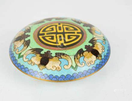 A Chinese cloisonne box depicting five bats.