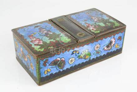 A Chinese cloisonne foil enamelled twin compartment copper tea caddy.