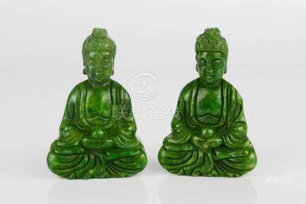 A pair of Chinese Heitian green jade carved Buddha amulet netsukes.