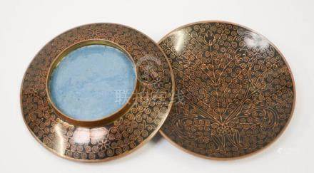 A pair of 19th centruy Chinese bronze and enamel dishes, with detailed scrollwork and blue enamel