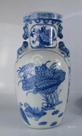 A 20th century blue and white Chinese vase with dog of fo shoulders, 38cm high.