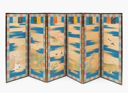 ParaventJapan, Anfang 20.Jh. Sechsflügelig. Tusche und Farben auf Seide. Jedes Paneel