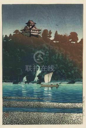 Kawase Hasui (1883 Tokyo–1957)Shin-Hanga. Signiert Hasui und datiert Shôwa 2 Jûnigatsu saku (
