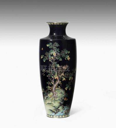 Cloisonné VaseJapan, Meiji-Zeit. Inaba Nanaho Studio-Marke. Mit Jungin Silberpunze. Polychromer