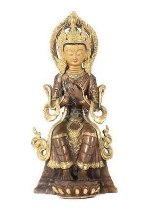 Buddha MaitrevaTibet/Nepal, wohl um 1900, Bronze/Kupfer, part. vergoldet, auf Thron sitzender