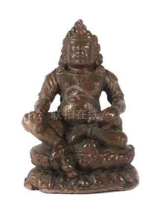 Kleiner JambhalaTibet/Nepal, um 1900, Bronze, in lalitasana sitzender Bodhisattva, eine Manguste