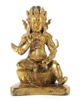 Jambhala19./20. Jh., wohl sino-tibetisch, Bronze/vergoldet, vollplastische Figur des Jambhala,