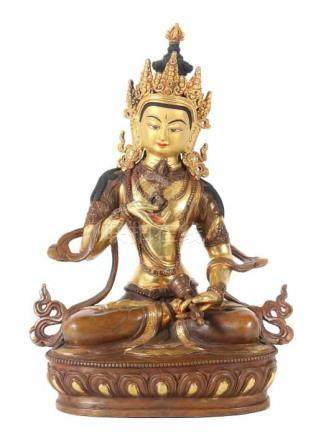 Buddha VajrasattvaTibet/Nepal, 1. Hälfte 20. Jh., Bronze/Kupfer, part. vergoldet, in vajrasana