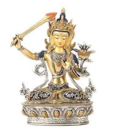 ManjushriTibet/Nepal, 20. Jh., Metall/Kupfer, verzinnt und vergoldet, in vajrasana