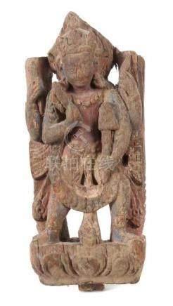 ReliefschnitzereiTibet/Nepal, wohl 19. Jh., Holz, Reste einer farbigen Fassung, reliefiert