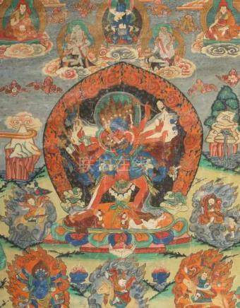 Thangka des Chakrasamvara im YabYumLadakh/Tibet, wohl 19. Jh., Gouache/Leinen, zentrale