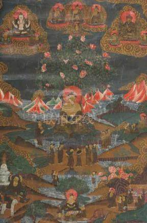 Thangka des Bodhi BuddhaLadakh/Tibet, wohl 19. Jh., Gouache/Leinen, Darstellung des Buddha