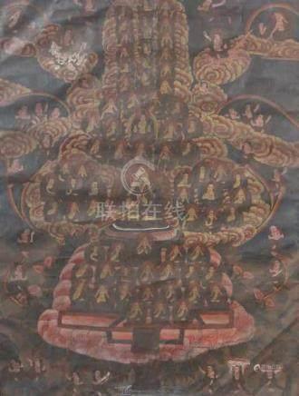 Thangka der Gelungpa-SchuleTibet, wohl um 1900, Gouache/Leinen, Darstellung einer Gemeinde von