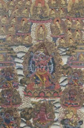 Thangka des VajrabhairavaTibet, wohl um 1900, Gouache/Leinen, der blaue, 24-armige Vajrabhairava (