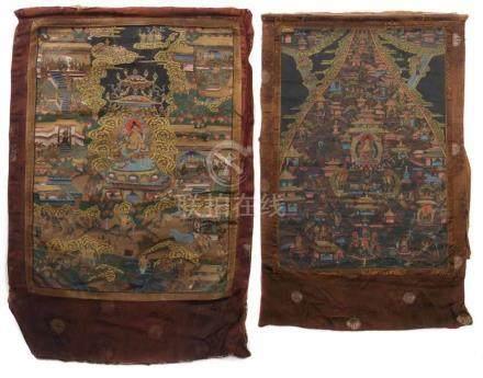 2 ThangkasNepal/Tibet, 19./20. Jh., 1x Darstellung der gelben Tara, auf Lotussockel umgeben