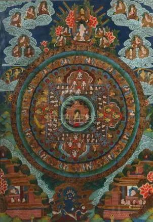 Mandala-ThangkaNepal, 20. Jh., Gouache/Leinen, zentrale Darstellung des Buddhas vor Tempel sitzend,