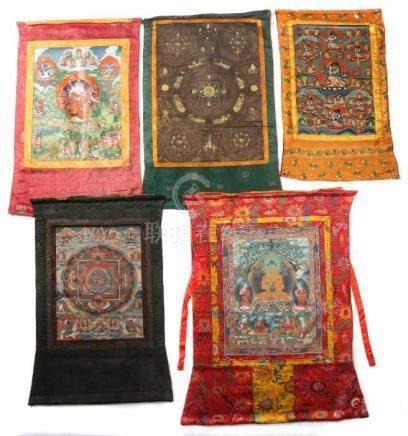 Konvolut ThangkasNepal, 20. Jh., Leinen/Gouache, 5-tlg. best. aus: 2x Mandala-Thangka mit