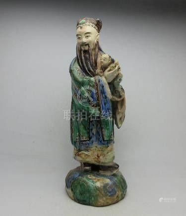 Qing Dynasty Shiwan ceramic statue