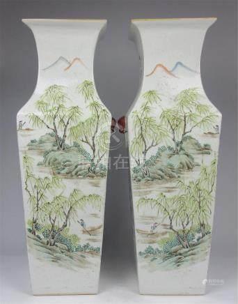 Pair of Color figures landscape square vases