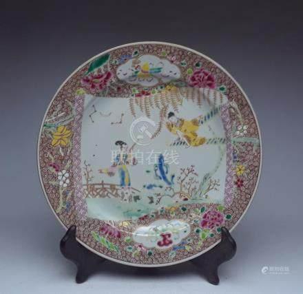 Qing Dynasty Qianlong figure pastel plate