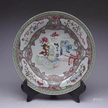 "Qianlong ""bogu"" pattern pastel plate"