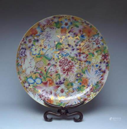 Qing Dynasty Qianlong 33cm Gold plated flowers pastel plate
