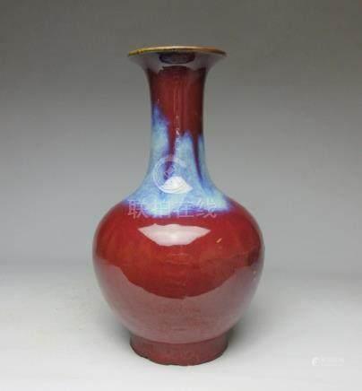 Qing Festival red kiln glaze bottle