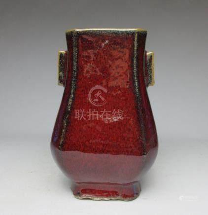 Qing Dynasty red glaze kiln vase