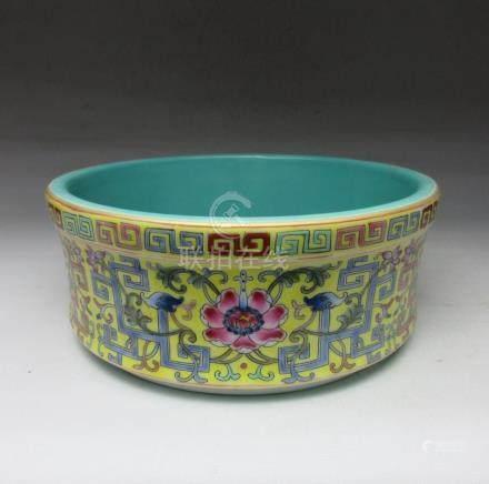 Qing Dynasty yellow background wash