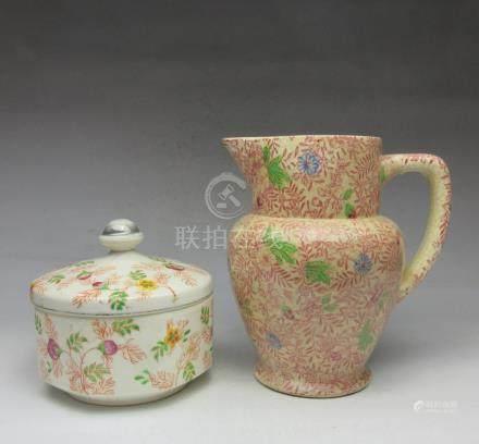Floral pattern pot + cover bowl