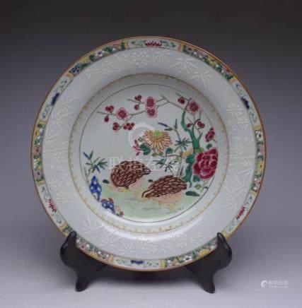 """Qong Dynasty Qianlong """"An Ju Le Ye"""" pastel plate"""
