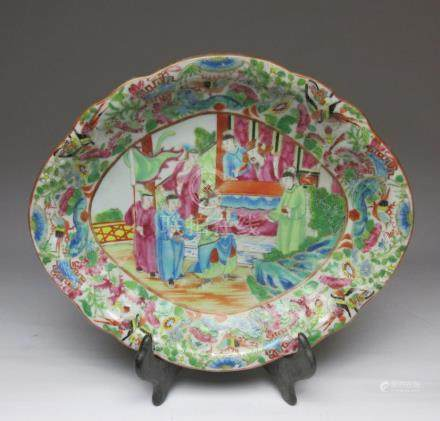 Qing dynasty character and flower plate