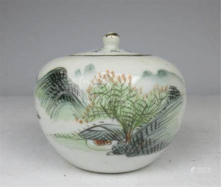 Pastel landscape pattern ceramic jar