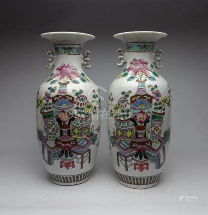 """A pair of the late Qing Dynasty pastel """"bogu"""" pattern vases"""