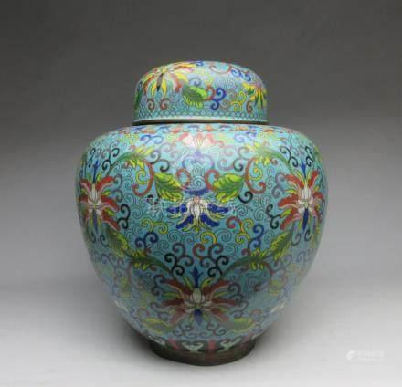 Cloisonne enamel jar with lid