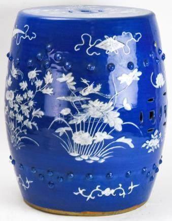 Chinese Blue & White Porcelain Garden Stool