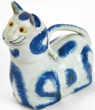 Chinese Blue & White Figural Cat Men's Chamber Pot