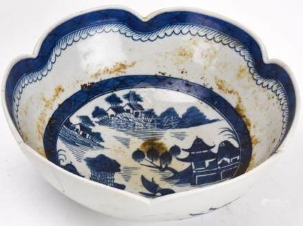 Chinese Canton Blue & White Porcelain Bowl