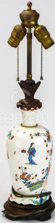19th C Hand Painted Chinese Porcelain Mount Lamp