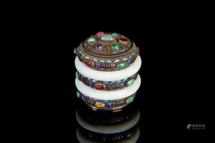 CHINESE SILVER & ENAMEL CADDY WITH JADE BANGLES
