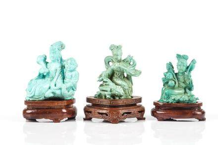 THREE CHINESE TURQUOISE CARVED LADIES