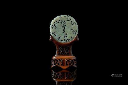CHINESE CARVED JADE CIRCULAR PLAQUE