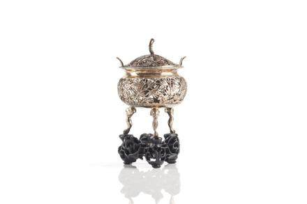 CHINESE EXPORT RETICULATED SILVER TRIPOD CENSER