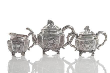 CHINESE EXPORT SILVER THREE PIECE TEA SET