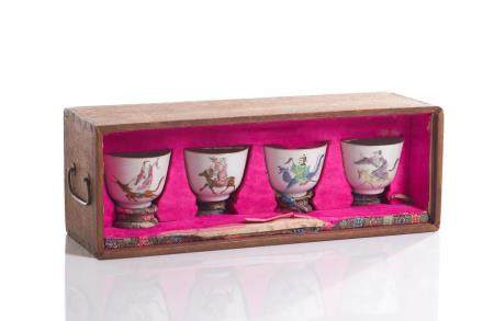 SET OF FOUR CHINESE FAMILLE ROSE PORCELAIN CUPS