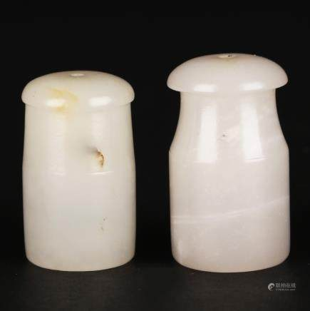 CHINESE PAIR OF WHITE JADE SMOKE PIPE MOUTH PIECE