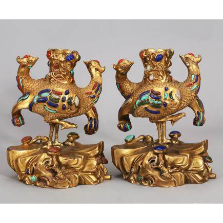 CHINESE PAIR OF GILT BRONZE PHOENIX CANDLE STANDS