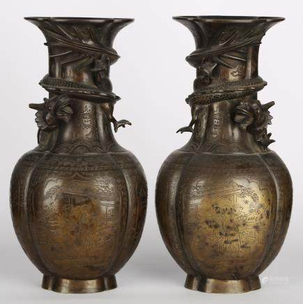 CHINESE PAIR OF BRONZE VASES