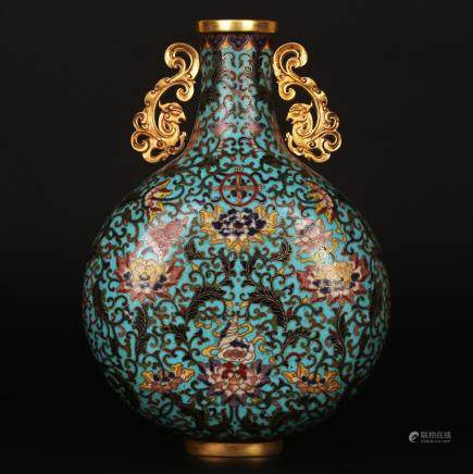 CHINESE CLOISONNE MOON FLASK VASE